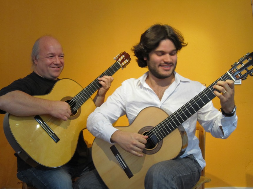Kai Heumann and Marcelo Rosario at the Gitarrenzentrum